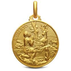 Medalion złoty - Święty Hubert. 21mm, 5,3g