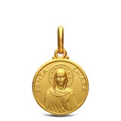 Medalik złoty - św Klara. 14mm, 2,35g