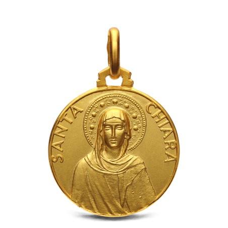 Święta Klara- medalik ze złota. 18mm, 3,65g