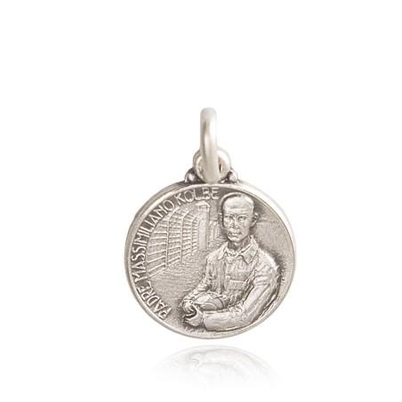 Święty Maksymilian Kolbe. medalik srebrny, 21 mm, ok 4,9 g