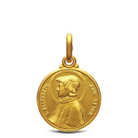 Medalik złoty św Elżbiety Seton. 14mm, 2,25 g