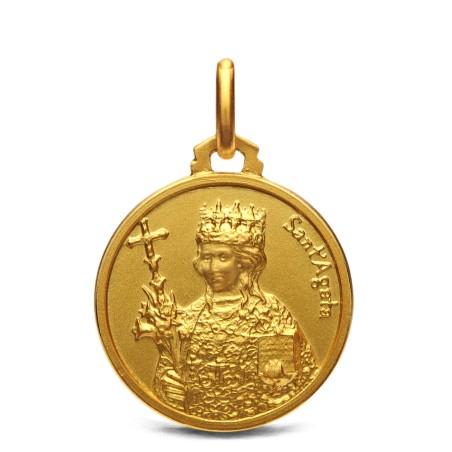 Święta Agata- medalik złoty 18mm, 3,55 g