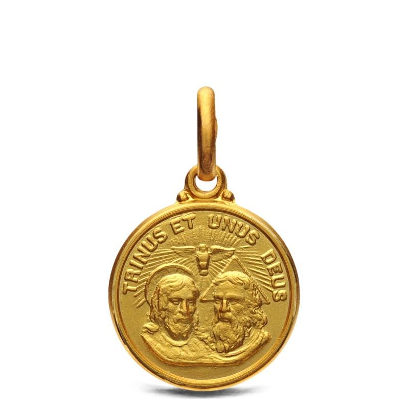 Trójca święta. Medalik złoty 14mm, 2,2 g