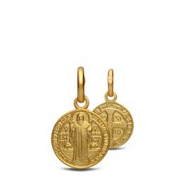 Święty Benedykt. Mały Złoty medalik 10 mm. 1,3 g