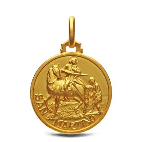 Medalion złoty ze Św Marcinem - 18mm 3,55g, 585