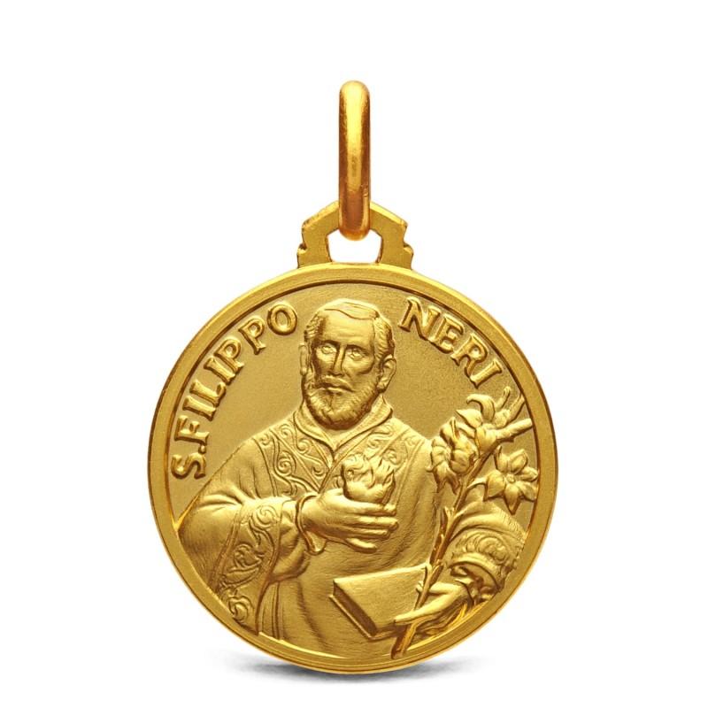 Złoty medalik św Filipa Neri. 18 mm, 3,7g medalik na chrzest