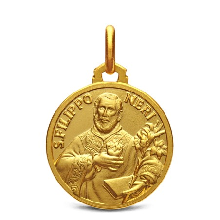 Złoty medalik św Filipa Neri. 18 mm, 3,7g