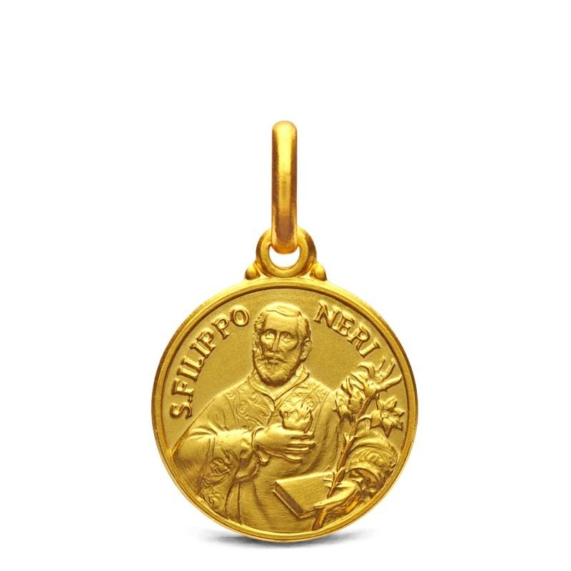 Św. Filip Neri - Złoty medalik 14 mm, 2,2g medalik komunijny