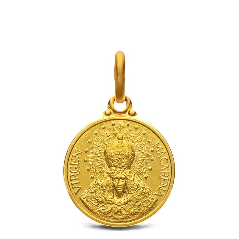 Medalik złoty - Macarena -Matka Bożej Nadziei. 14 mm, 2,2 g