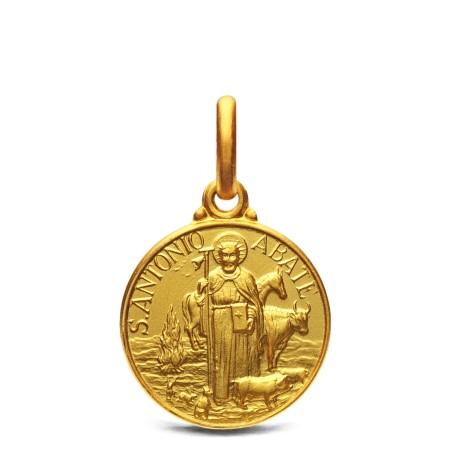 Św Antoni Abate - medalik złoty 14mm 2,15g