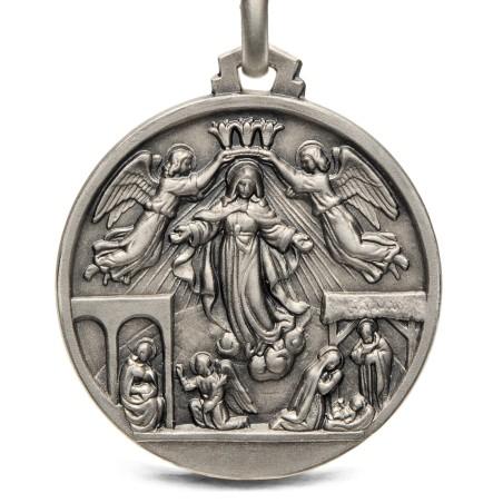 Medalik srebrny- Sceny z życia Maryi, 25mm, 6,6g