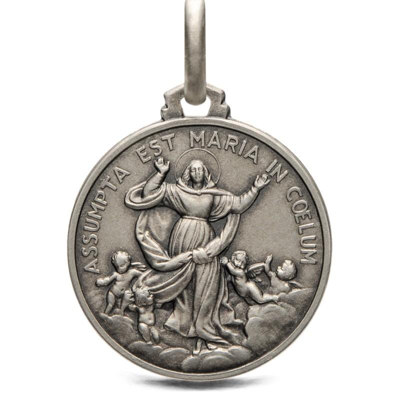 Duży Medalik srebrny Wniebowzięcie Maryi,  21mm, 4,6g