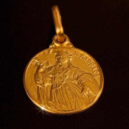 Święta Barbara. Medalik złoty. 14 mm, 2,2 g