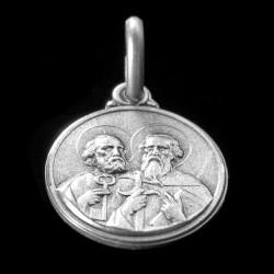 Święty Piotr i Paweł. 14mm, 2.0 g Medalik srebrny. Gold Urbanowicz