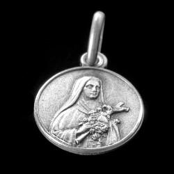Święta Teresa od dzieciątka Jezus. Medalik srebrny oksydowany. 1.2 g Medalik św Teresy,