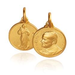Święty Jan Paweł II, Jezus Miłosierny, złoty medalik szkaplerz 14 mm, 3,1 g Gold Urbanowicz