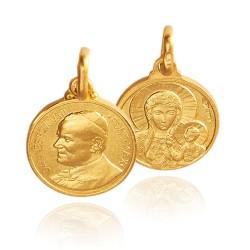 Matka Boska Częstochowska, św Jan Paweł II, 3 g  14 mm, Złoty medalik Gold Urbanowicz