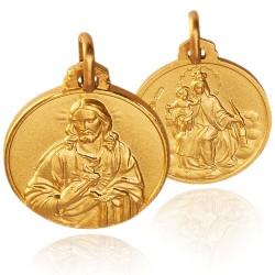 Szkaplerz Karmelitański. Matka Boska Szkaplerzna, medalik złoty 18 mm. 4,75 g  Gold Urbanowicz