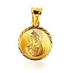 Matka Boska Ostrobramska. Złoty medalik, 1.5 g, 13 mm g